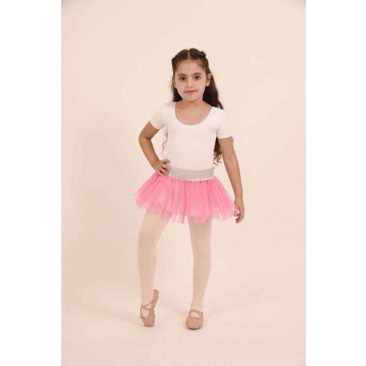 חצאית טוטו אולינדה לבן עם פס כסף 4